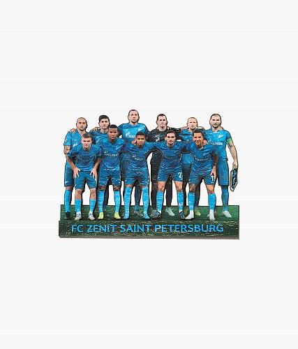 Магнит деревянный «Команда в лазурном»