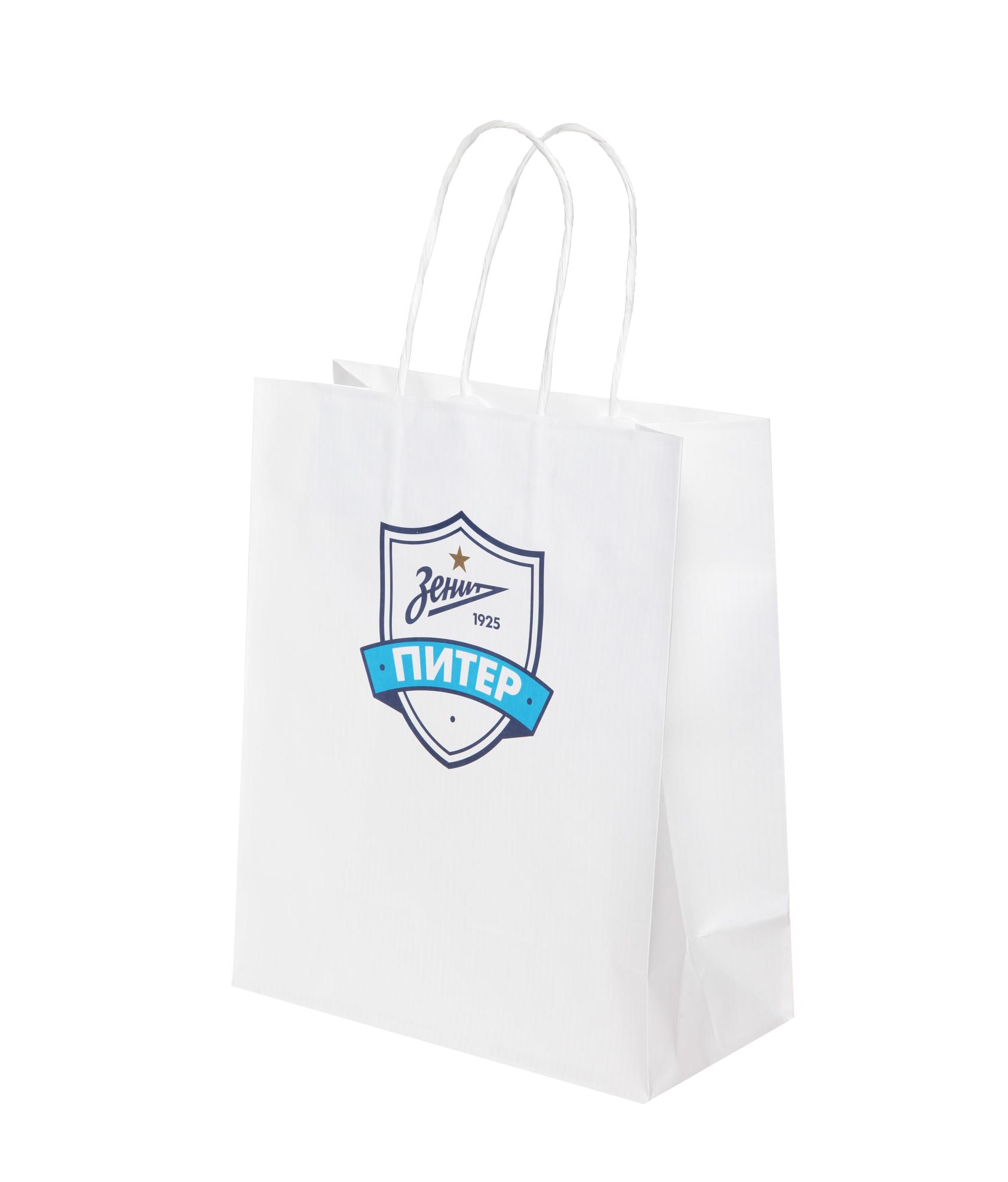 Пакет подарочный бумажный Зенит акцент в белом цвете 1 6 комфорт