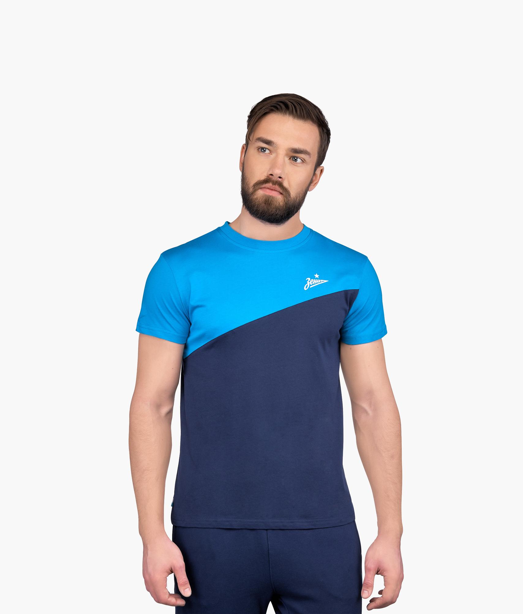 Футболка мужская Диагональ Зенит Цвет-Синий-Лазурный футболка мужская columbia f цвет синий 1839971 403 размер xxl 56 58