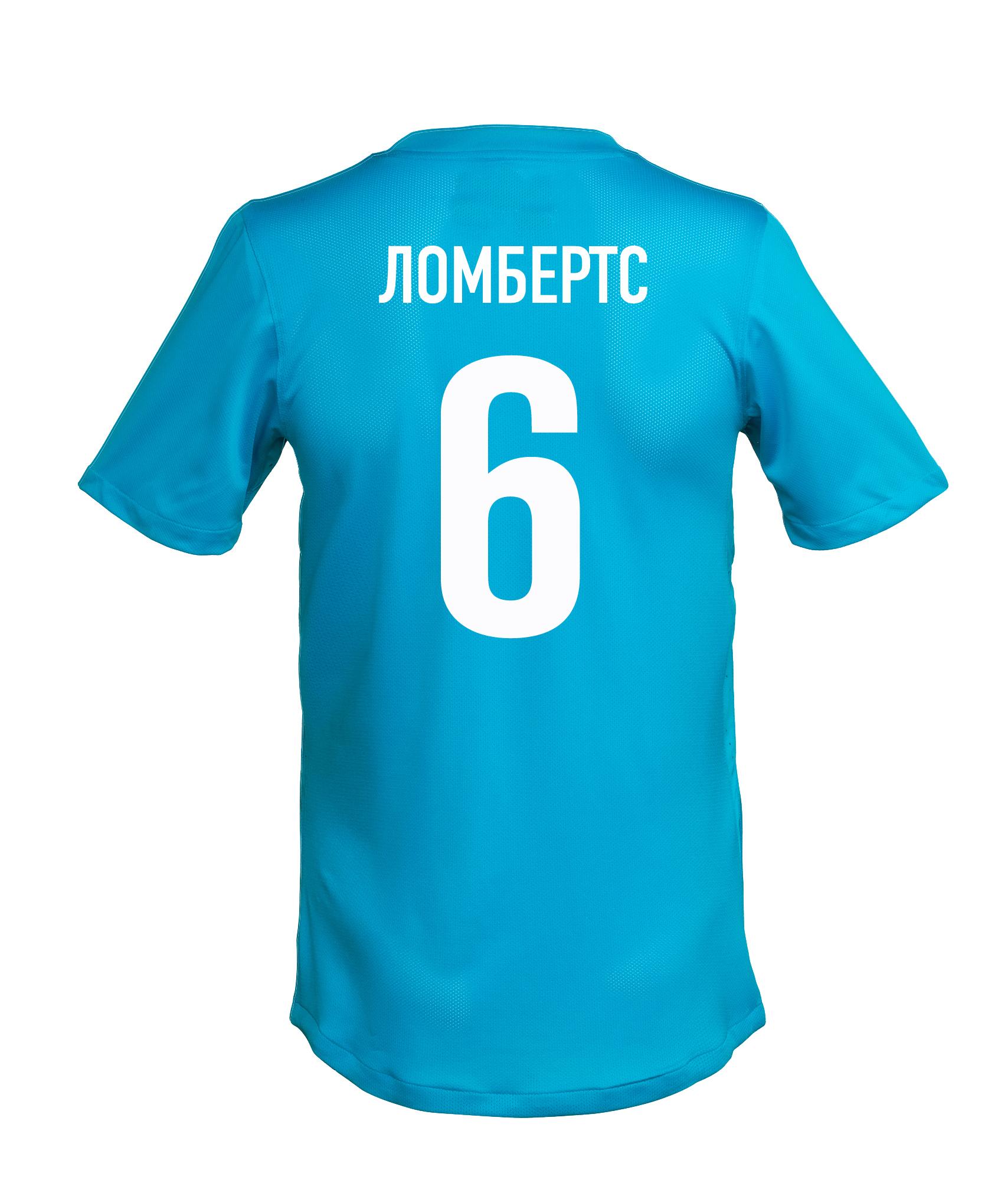 Игровая футболка с фамилией и номером Н. Ломбертса, Цвет-Синий, Размер-XXL